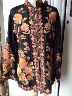 Vintage kashmiri black Silk hand embroidered jacket Crewel Work Small | eBay