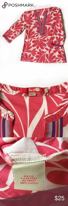 Boden tunic, like new Boden tunic. Lightweight 100% cotton fabric with deep pink (almost red) + white flower print.  Contrasting stripes around V-neck + cuffs. Split side hem with purple trim on both sides. In pristine condition.  Will look great with white shorts + espadrilles or jeans. Boden Tops Tunics