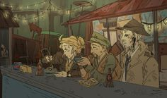 """kaylabara-art: """" When one stops in Diamond City to meet with their friendly neighborhood synth detective, one must make traveling mercenary companion eat power noodles with them. (pls dont remove source or artist comments) """""""