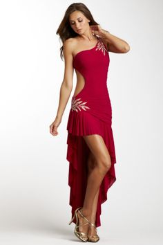 La Femme One Shoulder Open Side Ruffle Dress - Lady in Red #dresses #fashion #women #lady #girl #feminine #womanly #elegant #dressup #couture #street #style #beauty #highheels #boots #buisiness #homecoming #readytowear #redcarpet #catwalk #model #nyfw #runway #vintage #photography