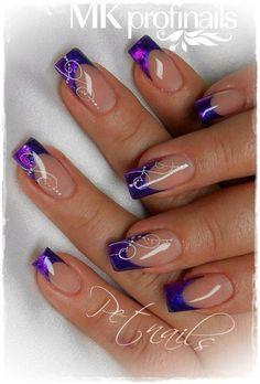 && @ && - nail design - # nail design - Nagel Ideen - Best Nail World French Tip Nail Designs, Elegant Nail Designs, French Nail Art, Pretty Nail Designs, Pretty Nail Art, French Decor, Purple Glitter Nails, Purple Nail Art, Purple Nail Designs