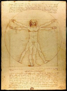 """Da Vinci Created This Drawing Around 1490 And It Is Surrounded By Notes Based On The Work Of The Architect Vitruvius. The Drawing And Text Are Sometimes Called """"the Canon Of Proportions"""""""