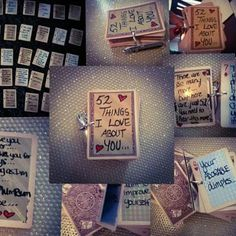 "aw this adorable gift idea on Facebook and had to make it, ""52 things I love about you""... I took a heart one hole punch through 52 cards, glued paper on them and wrote different things. You can see in my pic below I wrote in a paint marker, they look the best, but permanent sharpie would be fine :D you see there is a special craft paper, silver and gold, but you could even use plain white paper. The paper Then used the joker cards, etc for cover and back. I used a cut binder piece, but you…"