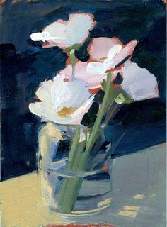 White & Pink Floral, Loose - Daily Painting - Lisa Daria Kennedy - http://lisadariakennedy.com/artwork/2693760.html