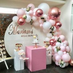 balloon arch 101 DIY Balloons Garland Arch Kit Rose Gold Pink White Balloon for Baby Shower Bridal Shower Wedding Birthday Party Decorations Shape Style: Oval Occasion: Wedding & Engageme Bridal Shower Balloons, Gold Bridal Showers, Gold Baby Showers, Birthday Balloon Decorations, Girl Baby Shower Decorations, Birthday Balloons, Pink Birthday, Birthday Bash, Birthday Parties