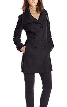 ACEVOG Women's Double-Breasted Fold-Collar Wool-Blend Coat Wool Jacket * Find out more about the great product at the affiliate link Amazon.com on image.