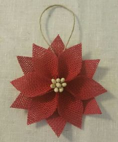 Red Burlap Poinsettia designed by me - Lynnette Goforth
