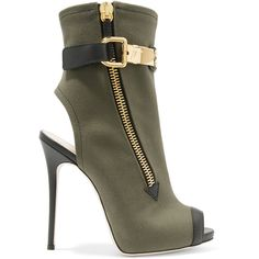 Giuseppe Zanotti Giuseppe Zanotti - Roxie Leather-trimmed Canvas Ankle... (€1.040) ❤ liked on Polyvore featuring shoes, boots, ankle booties, high heel ankle boots, high heel booties, short boots, olive boots and olive booties