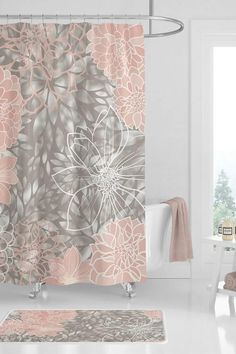 Pretty Bathroom Ideas: Beautiful shower curtain for girls bathroom. This elegant grey pink shower curtain is a lovely way to instantly create pretty bathroom decor that any girl would love. Find floral shower curtains at: girly bathroom ideas Diy Grey Bathrooms, Girl Bathrooms, Bathroom Colors, Bathroom Ideas, Small Bathroom, Floral Shower Curtains, Bathroom Shower Curtains, Bathroom Rugs, Plywood Furniture