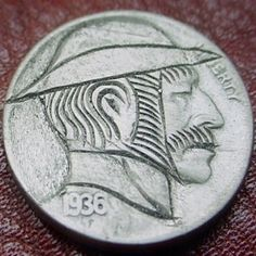 FRANK BRAZZELL HOBO NICKEL - SIDEBURNS* - 1936 BUFFALO PROFILE Hobo Nickel, Sideburns, Buffalo, Carving, Profile, User Profile, Wood Carvings, Sculptures, Printmaking