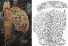 Crochet beige umbrella ♥LCU-MRS️♥ with diagram. Filet Crochet, Crochet Motifs, Crochet Diagram, Crochet Chart, Crochet Doilies, Crochet Lace, Crochet Stitches, Lace Umbrella, Lace Parasol