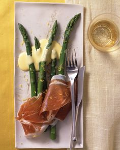 Asparagus with Prosciutto and Lemon Sabayon (Martha Stewart)