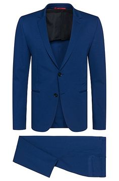 This HUGO suit blends effortless daywear with a modern urban statement via its bold hue and jersey construction. Raw edges add a rebellious attitude to your styled look.<BR><BR>Bring this suit to a HUGO BOSS store near you for hemming at no charge. Alterations are complimentary on full price items only; charges will be applied for items purchased on sale.