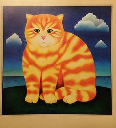 Orange Cat Childrens Print (Kids Wall Hanging Art to Frame) Martin Leman Vintage Home Decor                                   Print 1979