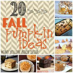 Two Yellow Birds Decor: Fall Pumpkin Recipe Round Up Pumpkin Recipes, Fall Recipes, Pumpkin Ideas, Holiday Recipes, Yummy Recipes, Yummy Treats, Sweet Treats, Yellow Birds, Fall Desserts