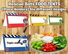 Hey, I found this really awesome Etsy listing at https://www.etsy.com/listing/244420750/transformers-rescue-bots-food-tent-cards
