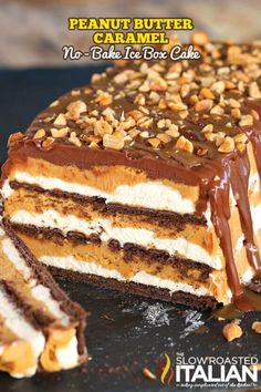 Peanut butter caramel no bake ice box cake