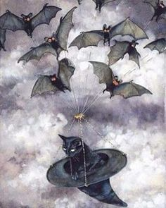 Black Cat flying with Bats in a witch hat; a perfect Halloween picture :) Halloween Pictures, Halloween Cat, Holidays Halloween, Vintage Halloween, Happy Halloween, Halloween Decorations, Samhain Halloween, Whimsical Halloween, Halloween Artwork