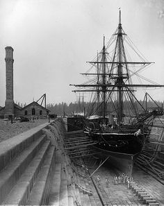 Esquimault Dry Dock near Victoria, BC, 1887. Photographer: William McFarlane Notman / Notman photographic Archives - McCord Museum