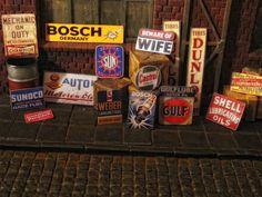 Deko Werbung Schilder Sign 1/18 Werkstatt Garage Tankstelle Diorama Deko Tool | eBay
