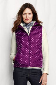 Love the color and polka dots of this Women's Dot Core Down Vest from Lands' End