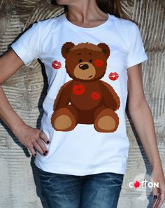 Plus size Top / Lovely Bear T-shirt / Extravagant by Cotton9