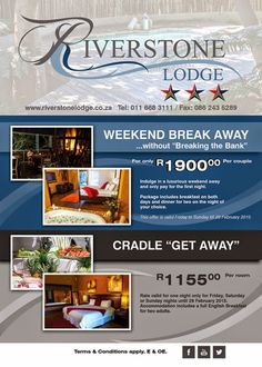 Welcome to the Weekend Magazine : Great Weekend Specials at Riverstone Lodge Muldersdrift !