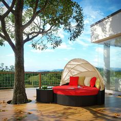 LexMod - Perectiona Canopy Outdoor Patio Daybed
