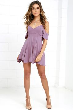 Lulus Exclusive! Get a little flirty with the Lifetime of Love Mauve Backless Skater Dress! Ruffled shoulder straps support a darted triangle bodice and frame a low back with lace-up ties. Jersey knit skater skirt has an unforgettable bounce and sway. As Seen On Jessica of Hapa Time blog!