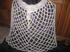 Hand Crocheted Skirt Poncho Green Purple White by AlpacaShack