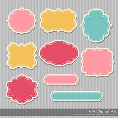 Sticker Digital Frames, Labels, Tags -- 9 Digital Frames -- 315F. $3.00, via Etsy.