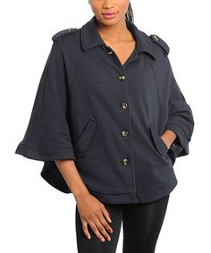 Take a look at this Navy Cape-Sleeve Swing Jacket by 24|7 Frenzy on #zulily today!