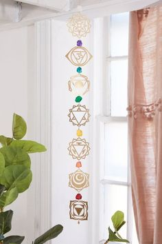 Be inspired to balance your chakras daily with this bohemian wall hanging by Ariana Ost. Featuring symbols made from brass with a rainbow of crystals in between. Meditation Room Decor, Meditation Corner, Yoga Meditation, Chakra Art, Chakra Symbols, Reiki Room, Crystal Wall, Crystal Room, Crystal Grid