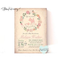 Girl Woodland Baby Shower Invitation - Baby Girl Shower Invite Deer Shower Invites - Peach Vintage Background - Typography - No.879 by AfterFebruary on Etsy https://www.etsy.com/listing/218426661/girl-woodland-baby-shower-invitation