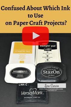 Confused About Which Ink to Use on Paper Craft Projects? Are you confused about which ink to use on paper craft projects? This quick tip video looks at Classic, Memento, Whisper White Craft, Stazon and Versamark ink pads. Card Making Tips, Card Making Tutorials, Card Making Techniques, Making Ideas, Making Tools, Stampin Up Anleitung, Stampinup, Scrapbooking, Stamp Pad