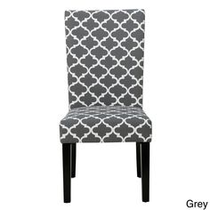Christopher Knight Home Aurora Fabric Trellis Pattern Dining Chair (Set of 2) (Grey) (Cotton)