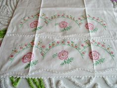 Vintage Pair of Embroidery Flowers & Crochet Pillow Cases in Excellent Condition