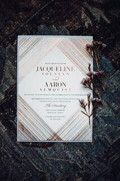Real Wedding Inspiration   Wedding Invitations   Ivory, Gray & Copper   Formal Invitations   Houston Wedding   Photographer: Ama by Aisha #weddinginvitation