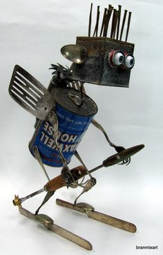 Recycling RUSTY ROBOT SCULPTURE Best Atomic skier by BranMixArt