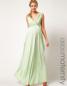 ASOS Exclusive Maternity Maxi Dress In Jersey With Grecian Drape Detail
