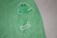 Vintage 1980's Green Baby Pants with Frog by TheMercerStreetHouse