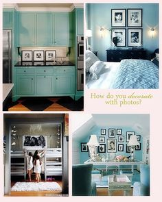 love the turquoise cabinets and the photo wall with the 4 images. Would love to do that of my 3 boys....and maybe my dog..lol