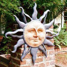 "Large Rising Sun Face Celestial Aluminum Indoor Outdoor Garden Wall Plaque 37"" | eBay"