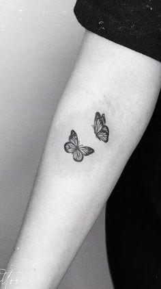 Cute Foot Tattoos, Small Foot Tattoos, Matching Tattoos, Wrist Tattoos, Mini Tattoos, Tattoo On Ankle, Tatoos, Butterfly Foot Tattoo, Colorful Butterfly Tattoo