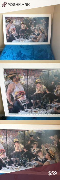 """Reproduction Painting P.A. Renoir This painting is a reproduction. """" Pierre auguste Renoir, Le Déjeuner des Canotiers. """" size is approx  36 by 24 inches no Frame. Tableau Other"""