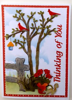 Card created by Susan Tierney-Cockburn of Susan's Garden Club. Supplies seen: CountryScapes - The Woods 1 (992), CountryScapes - Backyard 1 (988), CountryScapes - Country Fence (990), CountryScapes - Country Critters 1 (989), Els van de Burgt Studio - Thinking of You (789), CountryScapes - Clouds & Grass (1094), and PanPastels