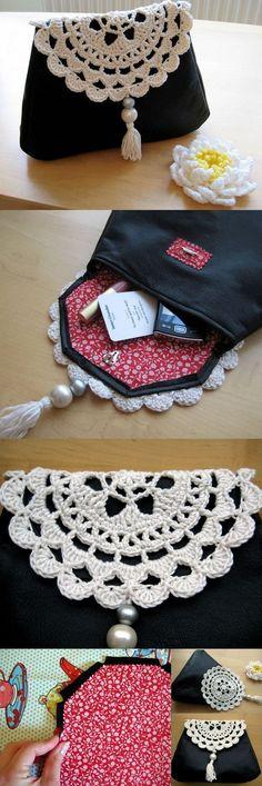 tutorial bolso de piel y ganchillo: