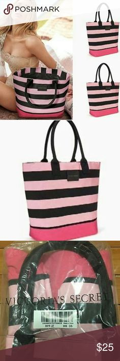 VS 2017 Spring Break Tote Spring Break 2017 Black and Pink Striped Bag. New in package. Victoria's Secret Bags
