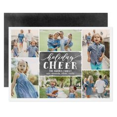 Holiday Cheer Collage Holiday Photo Card Black - modern gifts cyo gift ideas personalize