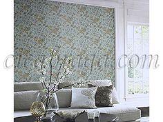Sugestão de decoração Ciça Braga - Papel de parede   Papel de Parede Vinílico Bright Wall (Americano) - Floral (Azul Acinzentado/ Bege/ Detalhes com Brilho Dourado) - COLA GRÁTIS